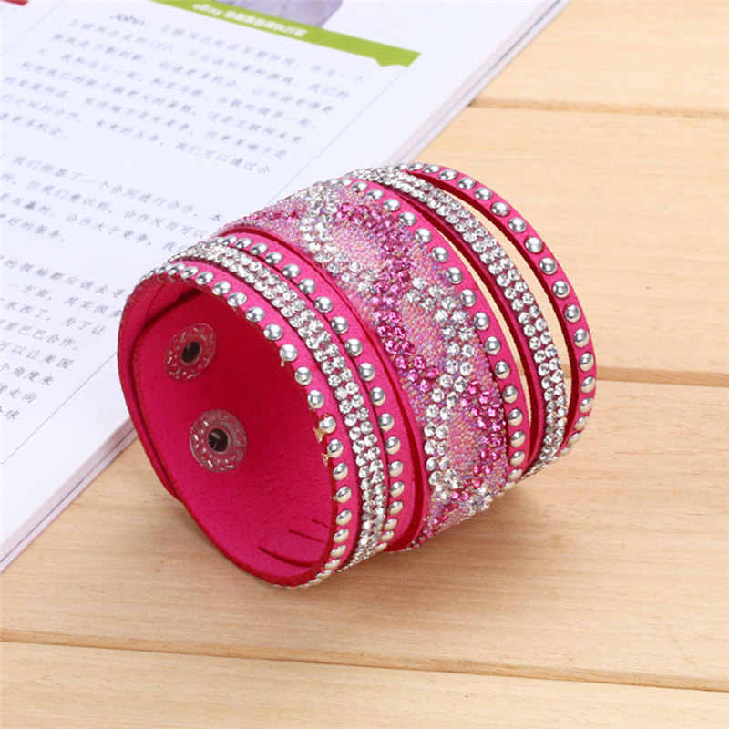 Kejialai новый модный многорядный Кристальный браслет для женщин, кожаные браслеты с шармом, широкая цепочка, аксессуары, этнические KJL020