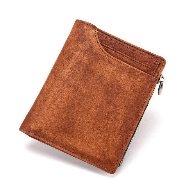 033cee2fe8b Cartera de cuero genuino para hombres cartera hombre pequeño Portomonee  Vallet con monedero bolsillos Slim Rfid