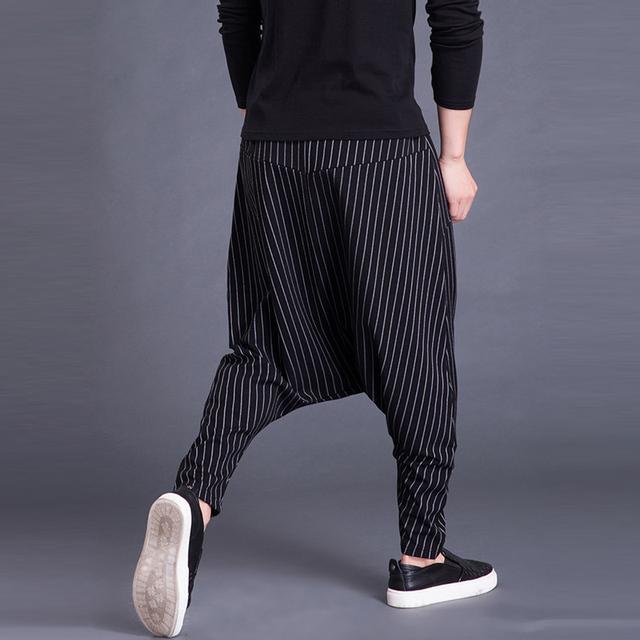 Brand Men's Pants Hiphop Harem Cross-pants 5XL Drop Crotch Striped Pockets Sweatpants Baggy Fashion Trousers Hombre Pants Punk