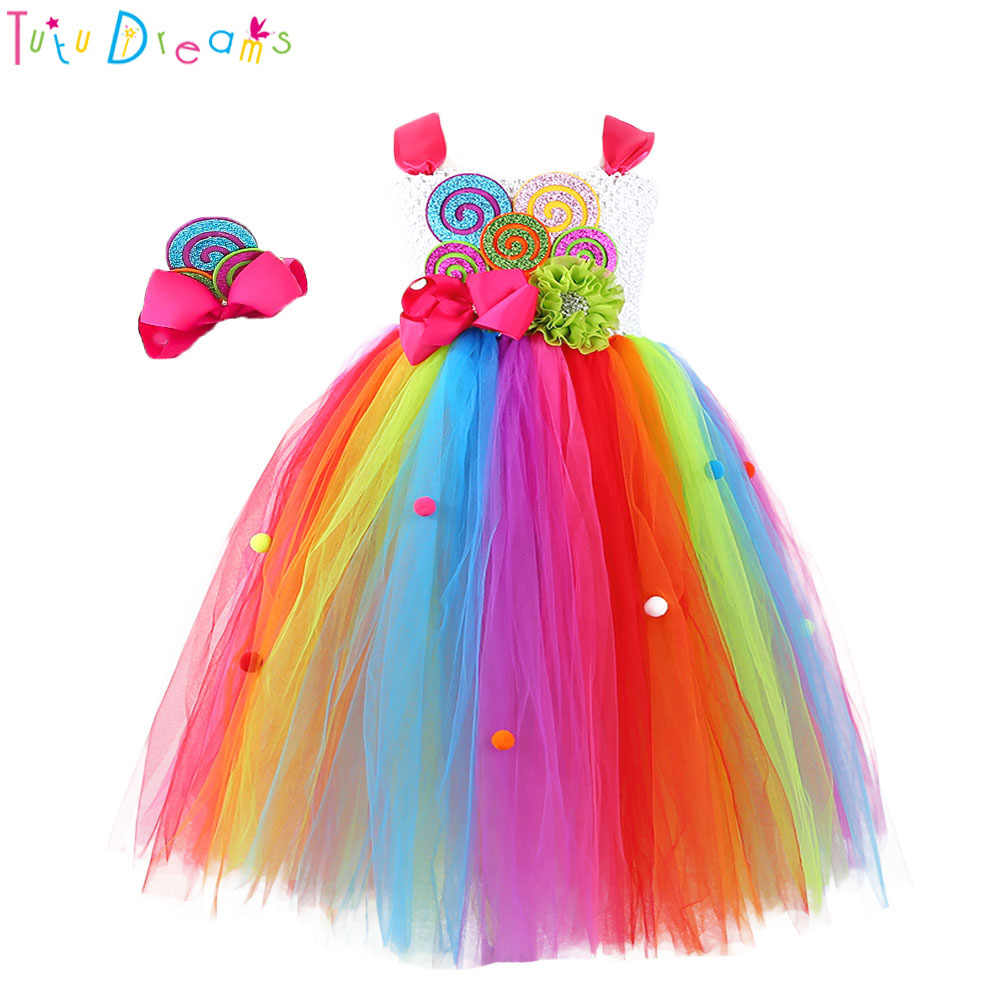 166c0cb112b Sweet Rainbow Candy Girl Birthday Tutu Dress Child Kids Cute Colorful Balls  Flower Bow Candy Cake