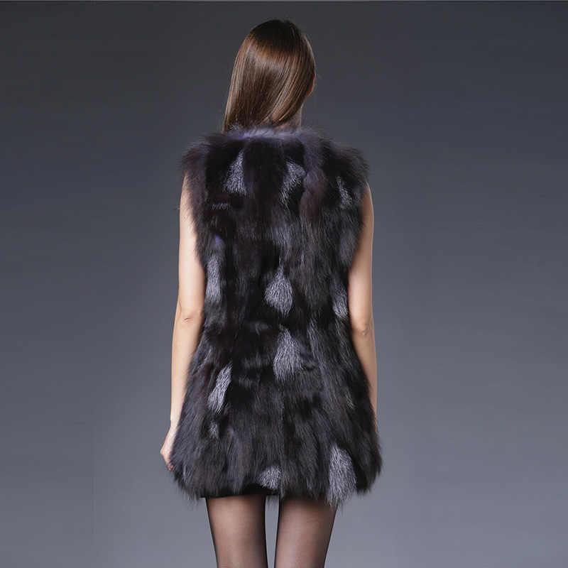 2018 begrenzte Lange Echtpelz Mode Frühling Echte Natürliche Splitter Fuchs Pelz Weste Frauen Luxuriöse Mantel Jacke Oberbekleidung Echt Gilets