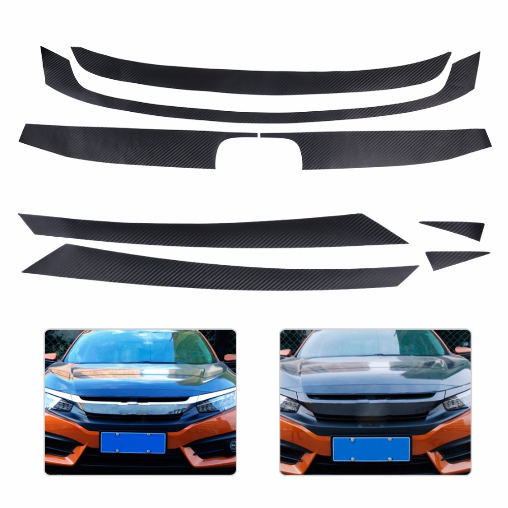 DWCX 8 Parts Car Stylling Carbon Fiber Texture Bumper Grille Grill Decor Decal Sticker Trim Protector Fit for Honda Civic 2016 frp fiber glass nobless style front grill fiberglass racing grille grills accessories fit for honda odyssey rc1 car styling