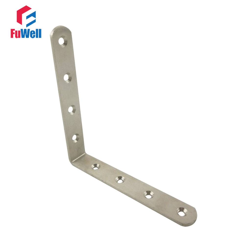 2pcs 150mm x 150mm 90 degree Corner Brackets 4mm Thickness Stainless Steel Angle Bracket for Bed Cabinet Table Furniture 2pcs 90 degree up