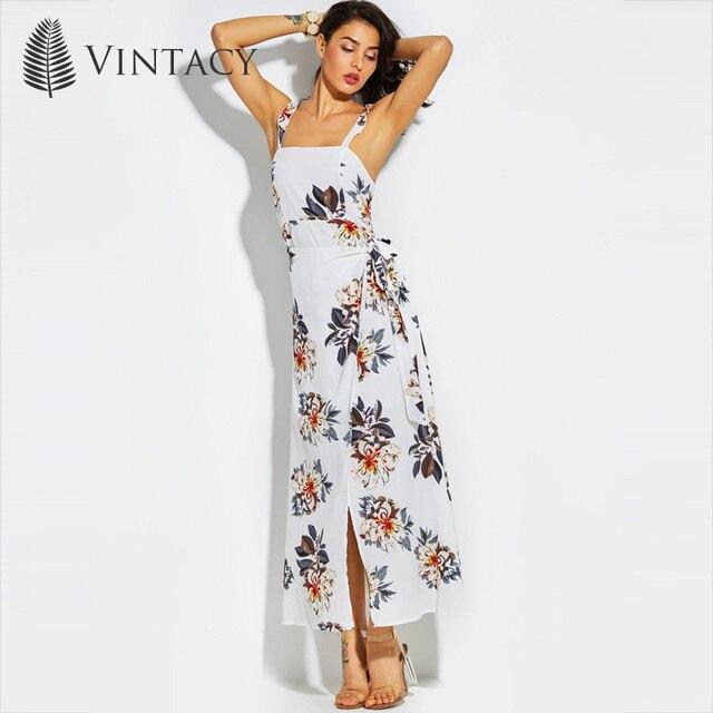 Vintacy Women's Dress Sleeveless Floral Pullover Lace-Up High-Waist Print Summer 2018 Modern Fashion Female Girls Women's Dress