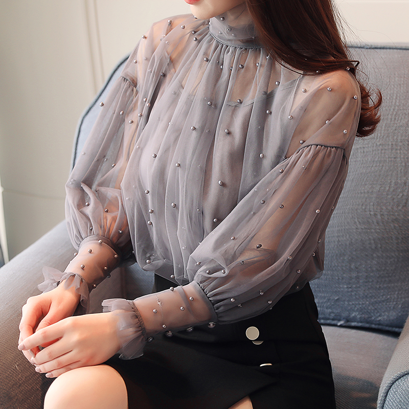 2pcs Woman chiffon beading   blouses     shirt   fairy long-sleeved beaded transparent lantern sleeve lace pearls Gauze Tops 2018