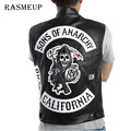 RASMEUP Fashion Men Sons of anarchy motorcycle club vest faux leather Embroidered vest sleeveless jacket men vestcoat