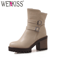 WETKISS Wood High Heels Women Ankle Boots Round Toe Pu Footwear 2018 New Casual Lady Shoes Winter Warm Boot Big Size 33 43