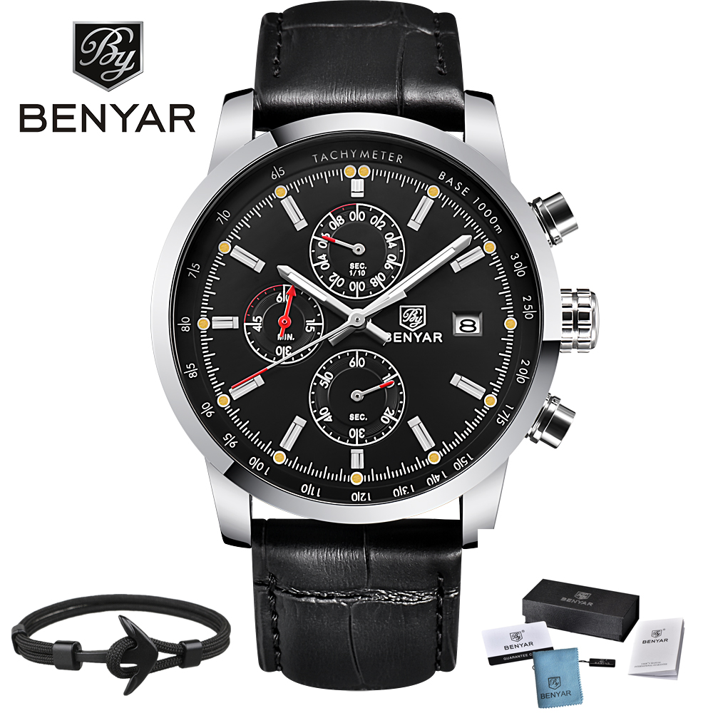 Benyar Men Watch Top Brand Luxury Male Leather Waterproof Sport Quartz Chronograph Military Wrist Watch Men Clock relogio benyar quartz watch men sport watch luxury brand leather wrist watch men chronograph business watch male clock relogio masculino