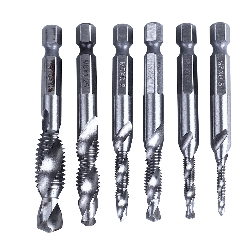 6pcs Drill Bits Hss Tap Countersink Deburr Set Metric Combination Bit M3-M10 High Speed Steel 6pcs hss high speed steel drill bit set 1 4 inch hex shank combination drill tap bit set unc or metric deburr countersink bits