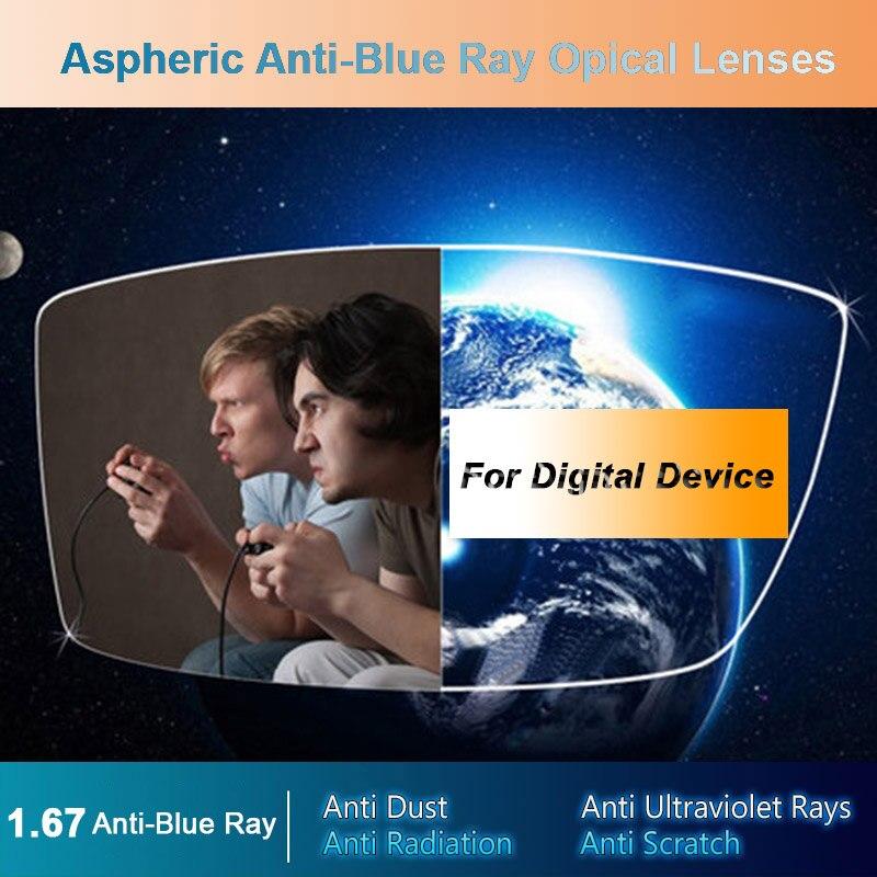 1.67 Anti-Blu Ray Singolo Gli Uomini e Le Donne Lenti Da Vista Ottico Correzione della Vista di Visione Lenti per I Dispositivi Digitali