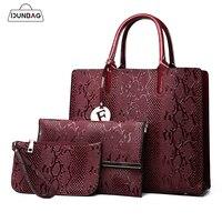 3Pcs Snake Serpentine Women Handbags Set High Quality Pu Leather Shoulder Tote Bag+Chain Female Messenger Bags+Mini Clutch Purse