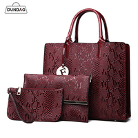 3Pcs Snake Serpentine Women Handbags Set High Quality Pu Leather Shoulder Tote Bag+Chain Female Messenger Bags+Mini Clutch Purse