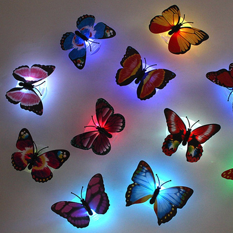 1pcs Butterfly LED Night Light With Suction Pad WallLight Changing RGB Lamp Romantic Home Room Party Desk Decor Drop Shipping