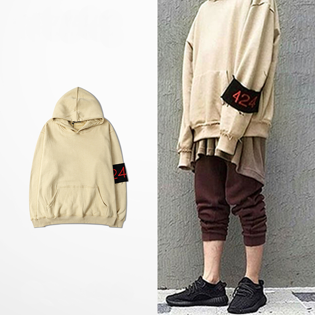 GD kanye Kanye European and American men and women casual high street off shoulder couple hedging hooded hoodie