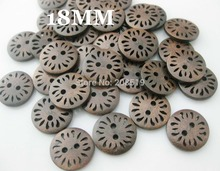 WBNLWG Wholesale Dark Brown sewing buttons 18MM Hollow Flower wood button 100pcs/lot garment accessories