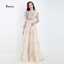 Finove Evening Dress Long Champagne A Line Full Sleeves