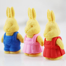 1Pcs Stationery Supplies Kawaii Cartoon Pencil Erasers cute Rabbit office Correction Kid learning Gifts