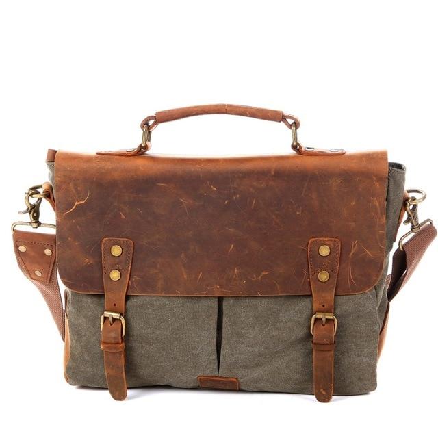Men Vintage Canvas Shoulder Handbag Crazy Horse Leather Soft Computer Bag Hasp Military Style Messenger