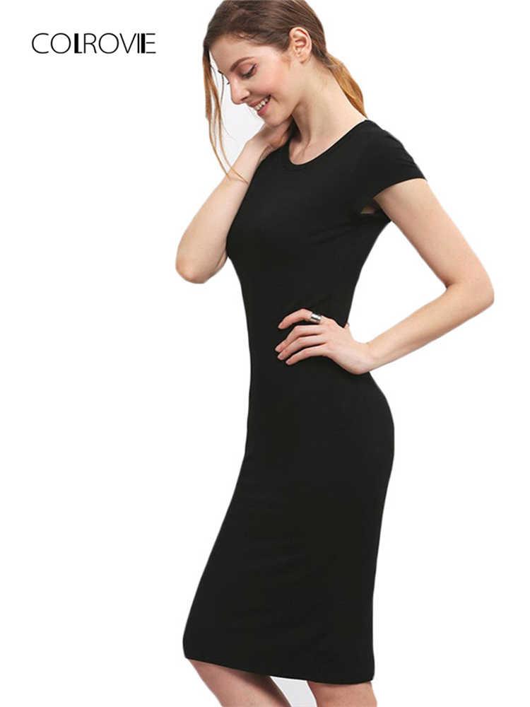 4d62e3737af5 COLROVIE Women Bodycon Dresses Summer Sexy New Fitness Black Crew Neck  Short Sleeve Sheath Slim Knee