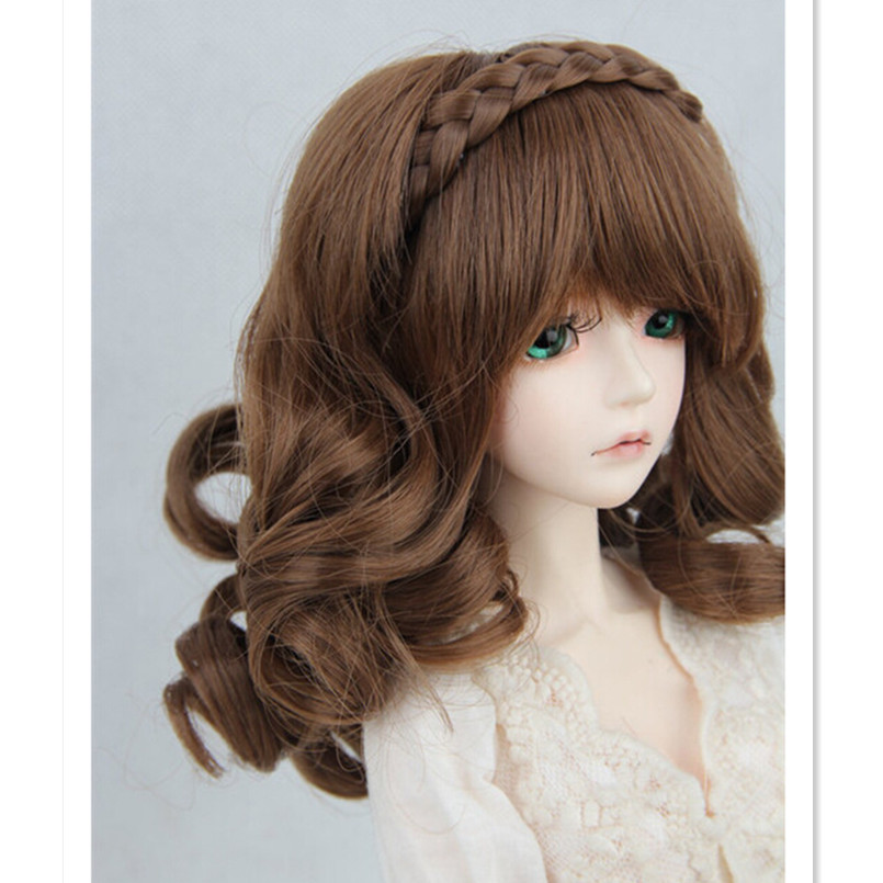 BJD Wig Synthetic Doll Hair for Dolls,Cute 1/3 1/4 Doll Hair Wigs Curly Hair Accessories for Dolls 1pcs retail doll accessories synthetic dolls hair 15cm bjd wig doll diy