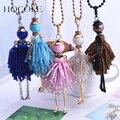 HOCOLE French Paris Girl Doll Necklace Dress Handmade Doll Pendant Crystal Bead Choker Necklace Women Fashion Maxi Jewelry