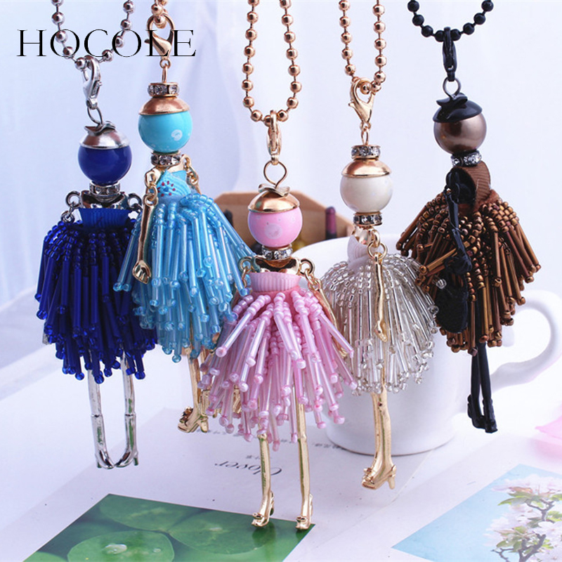 HOCOLE French Paris Girl Doll Necklace Dress Handmade Doll Pendant Crystal Bead Choker Necklace Women Fashion Maxi Jewelry