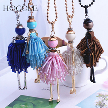 2016 Trendy French Paris Girl Doll Necklace Dress Handmade Pendant Crystal Bead Women Fashion Jewelry Accessories