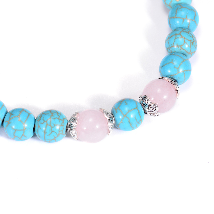 Ethnic Pink Flower Crystal Beaded Bracelets For Women 2018 Friendship Jewelry Charm Natural Stone Bangle Bracelet Adjustable