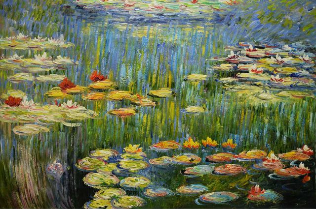 HandPainted Modern Impressionism Claude Monet Lily Pond Landscape Oil  Canvas Painting Wall Art Picture Painting For