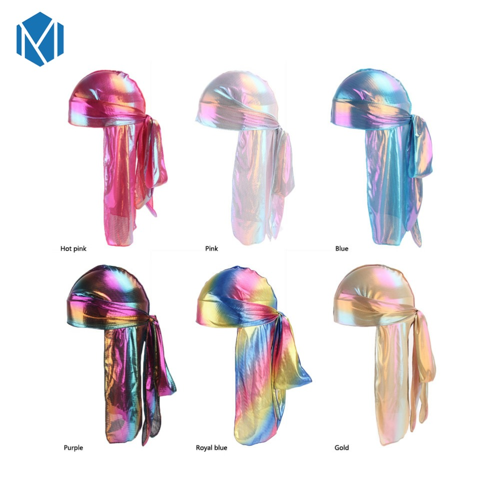 Buy Cheap Colorful Men Du Rag Wigs Turban Doo Rag Headband Pirate Hat Hair Accessories Men's Sparkly Silk Durag Bandana Headwear