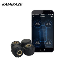 4 internal sensors TPMS Car Bluetooth 4.0 TPMS Tire Pressure PSI BAR Temperature Alarm System OBD For Android iPhone Phone