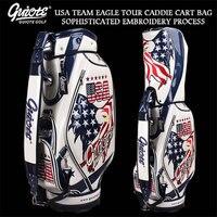 USA Bald Headed Eagle Golf Caddie Cart Bag PU Leather Standard Golf Tour Staff Bag With Rain Hood 5 way For Men Women