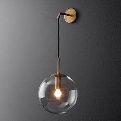 Nowoczesny szklany kinkiet osobowość prosta sypialnia lampki nocne salon korytarz schody kinkiet w Lampy ścienne od Lampy i oświetlenie na
