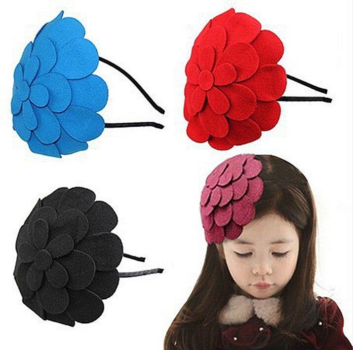 (9 Colors )10pcs/lot 2015 new pretty big felt flower children headband, girls hairband kids hair accessories, baby headwead
