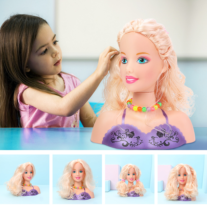 Half Body Makeup Hairstyle Doll Cosmetic Head Pretend Play Toys Girls Makeup Training girl birthday gift DIY kit with color box