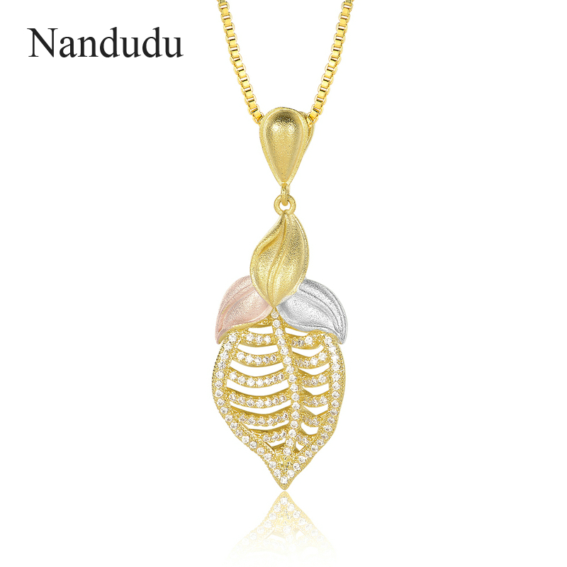 Nandudu Hollow Leaf Pendant Necklace Tri-colored Polished Gold Three Gold Yellow Silver Rose Gold Gorgeous Women Jewel CN407