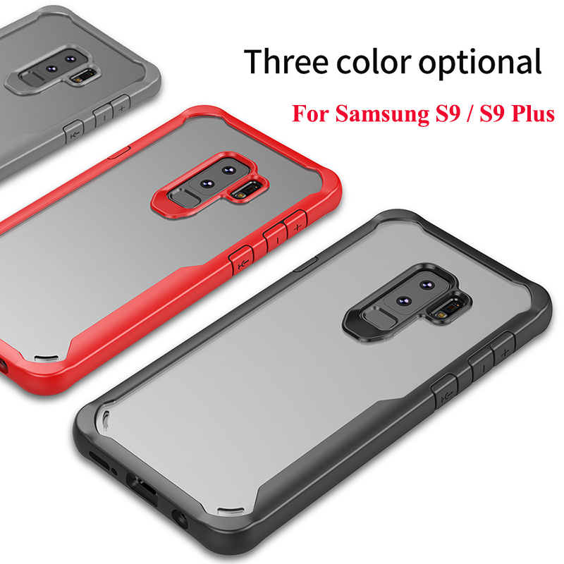 Luxury Transparent Soft TPU Case For Samsung Galaxy S9 Plus Gel PC Bumper Acrylic Air Hybird Dual Armor Clear Coque Back Cover