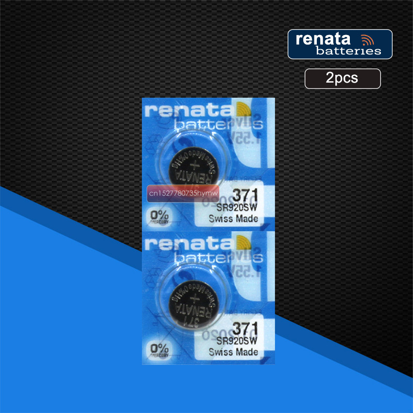 2pc RETAIL Brand New Renata LONG LASTING <font><b>371</b></font> SR920SW LR69 LR920 AG6 Watch <font><b>Battery</b></font> Button Coin Cell Swiss Made 100% Original image