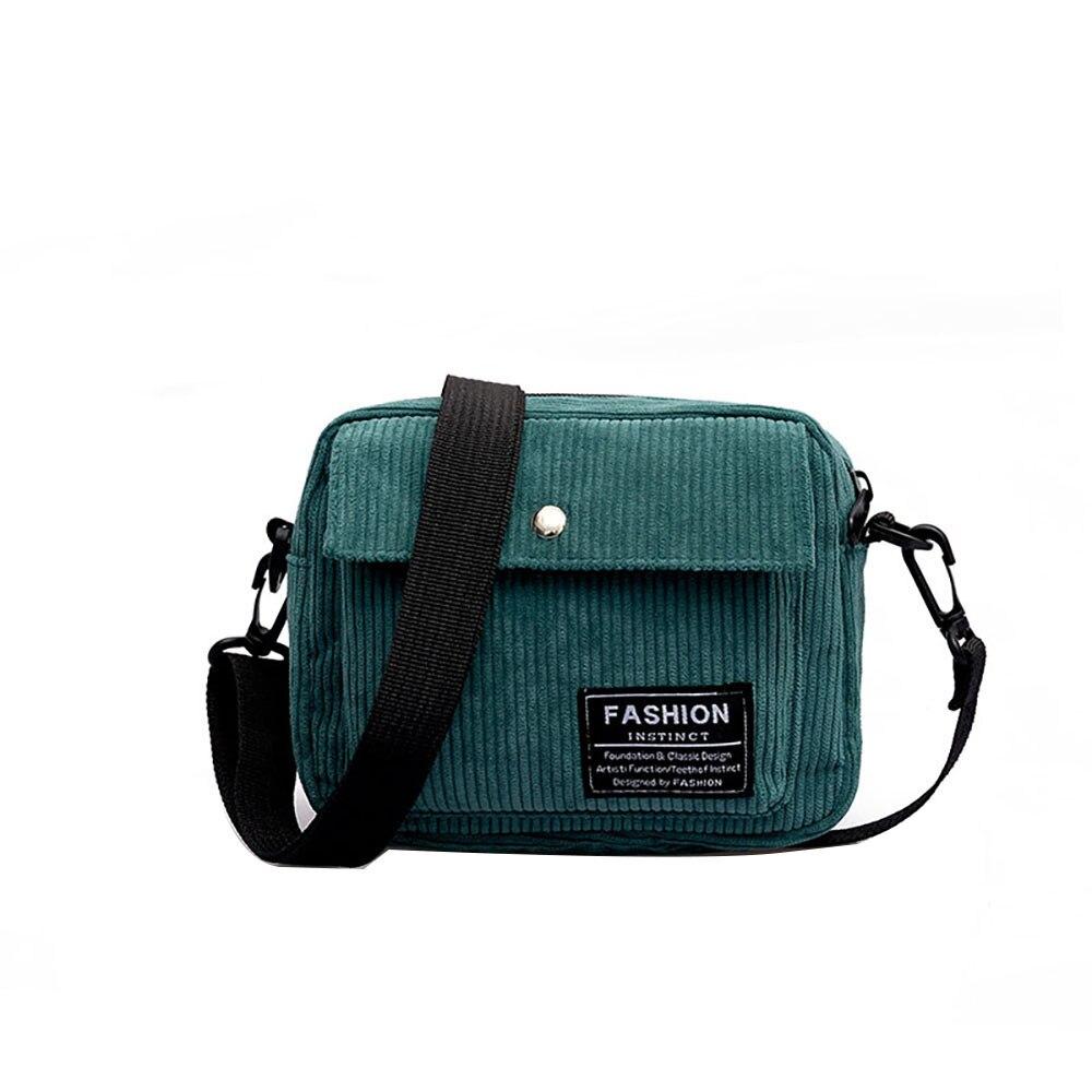 Women Corduroy Small Shoulder Bag Satchel Crossbody Messenger Handbag Purse
