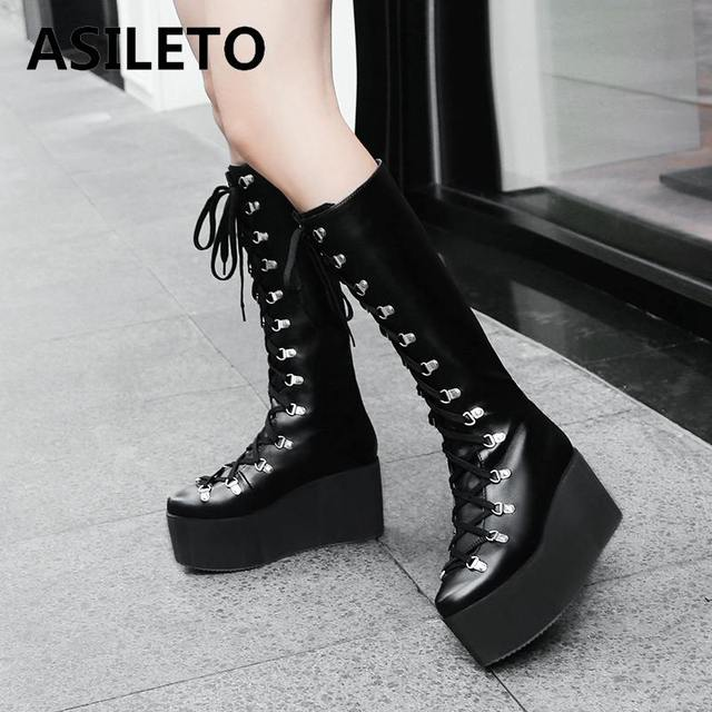 $ US $26.87 ASILETO knee Boots Women motorcycle Gothic boots rivet wedges shoes platform High Heels Shoes woman lace up botas zapatos S750