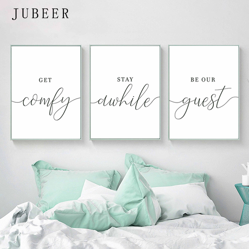 10 Small Guest Room Ideas That Are Larger Than Life: Scandinavian Style Set Of 3 Wall Art Guest Room Posters