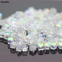 Isywaka 1980pcs Cube 2mm White AB Color Square Austria Crystal Beads Charm Glass Beads Loose Spacer