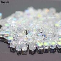 Isywaka 1980 unids cubo 2mm blanco ab color square austria cristal encanto de los granos de cristal granos flojos del grano del espaciador diy fabricación de la joyería