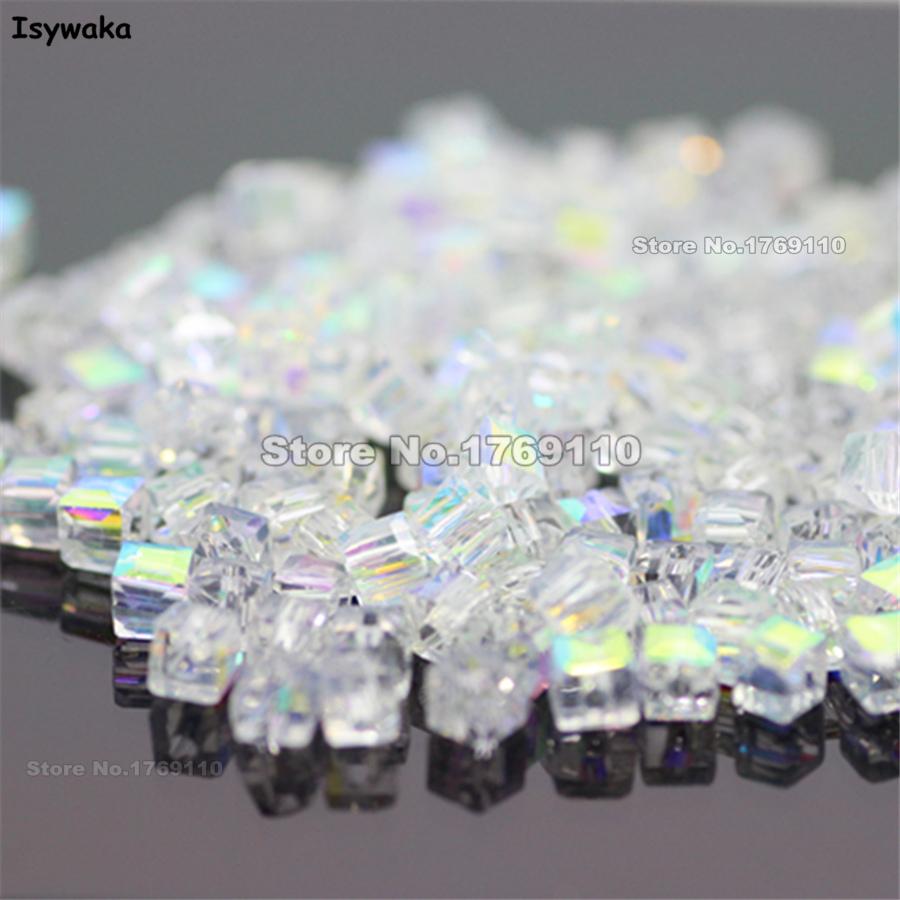 Isywaka 1980pcs Cube 2mm White AB Color <font><b>Square</b></font> Austria Crystal Beads Charm Glass Beads Loose Spacer Bead DIY Jewelry Making