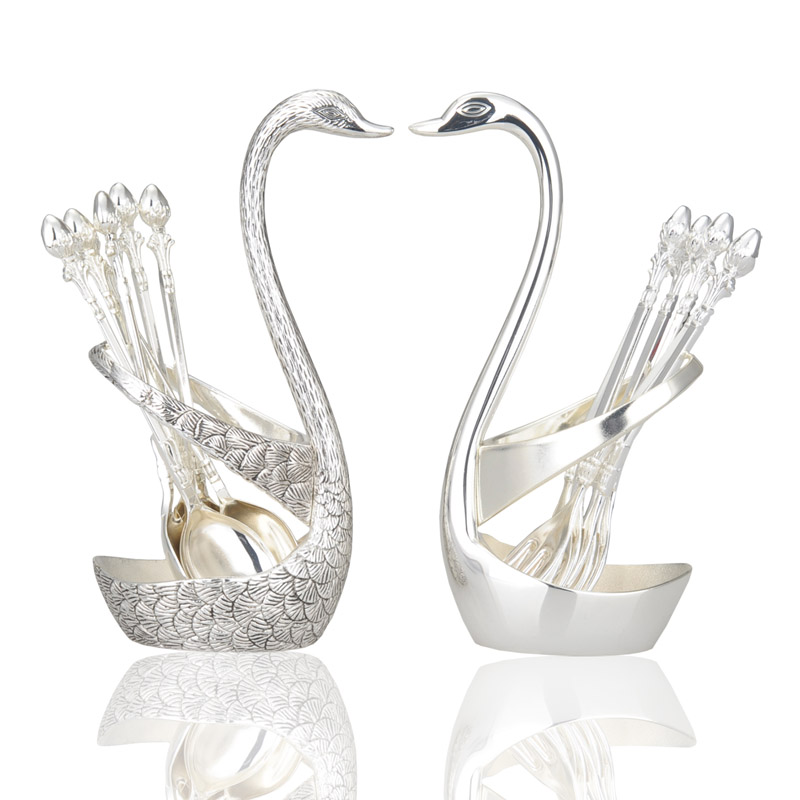Silver swan fruit fork dessert spoon set Fashion creative suits Luxurious gold fruit dessert fork cutlery