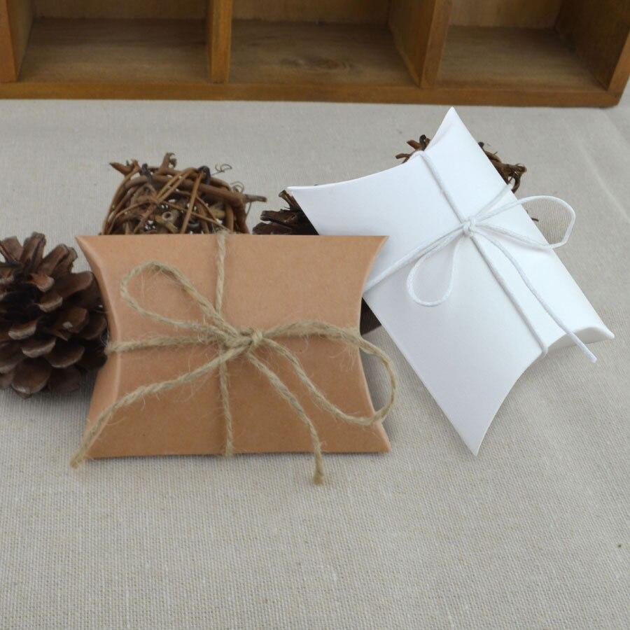 ᐃ9x6 5x2 5 Cm Kraftpapier Kissen Box Mit Juteband Ropewedding