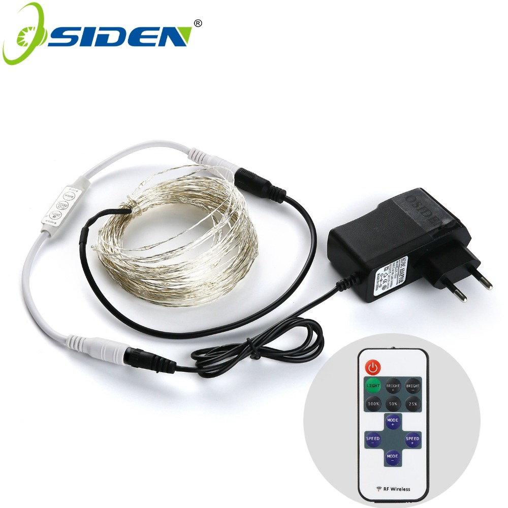 OSIDEN LED String Lights 5M10M Outdoor Christmas Fairy Lights Warm White Silver Wire LED Starry Lights DC 12V Wedding Decoration
