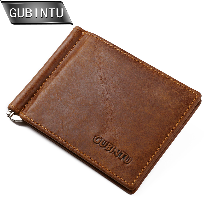 GUBINTU Brand Men Genuine Leather Bifold Purse Billfold Wallet Money Clip Slim Wallets and Purses interatletika бт 113