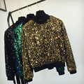 Allover Glaring Sequins Handwork Bling Sweatshirt 2017 European Fashion Ladies Loose Fit High Waist Crewneck Stage Outfit