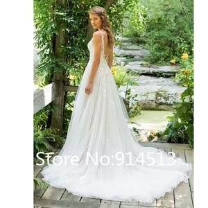 Image 2 - 2020 Vestido De Noiva A Line V คอชุดแต่งงานลูกไม้ Appliques CUSTOM Made งานแต่งงานชุดรถไฟกวาด